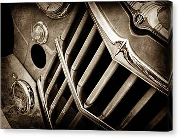1957 Willys Jeep 6-226 Wagon Grille Emblem -1046s Canvas Print by Jill Reger