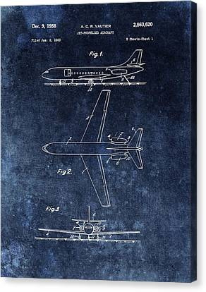 1958 Airplane Patent Blue Canvas Print by Dan Sproul