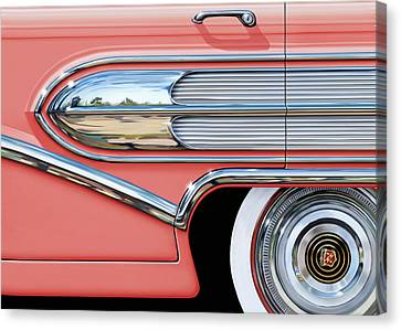 1958 Buick Side Chrome Bullet Canvas Print by David Kyte