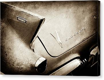 Canvas Print featuring the photograph 1958 Cadillac Eldorado Biarritz Taillight Emblems -0255s by Jill Reger