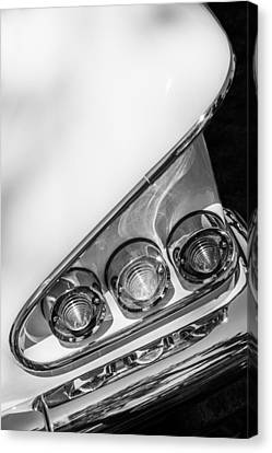 White Chevy Canvas Print - 1958 Chevrolet Bel Air Convertible Tail Light -0278bw by Jill Reger