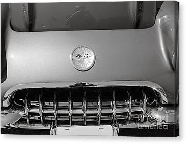 1958 Corvette By Chevrolet Front End And A Sepia Photograph 3485 Canvas Print by M K  Miller