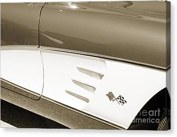 1958 Corvette By Chevrolet Side Panel And A Sepia Photograph 348 Canvas Print by M K  Miller