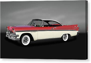 Canvas Print featuring the photograph 1958 Dodge Custom Royal Lancer Super D-500  -  1958dodgesuperd500gry170482 by Frank J Benz