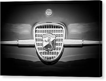 1958 Fiat Abarth-zagato Grille Emblem -1632bw Canvas Print