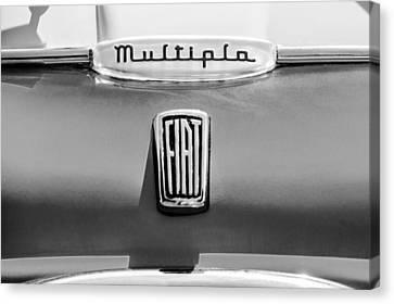 1958 Fiat Multipla Hood Emblems -1651bw Canvas Print