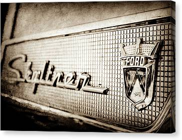 1958 Ford Fairlane Skyliner Hardtop Convertible Emblem -0437s Canvas Print by Jill Reger