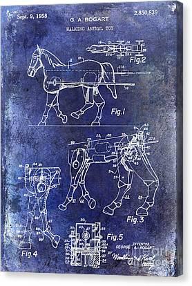 1958 Horse Toy Patent Blue Canvas Print by Jon Neidert