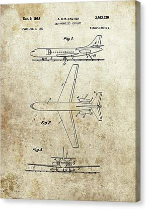 1958 Jet Airplane Patent Canvas Print by Dan Sproul