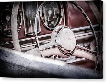 1958 Mercedes-benz 300sl Roadster Steering Wheel -1131ac Canvas Print by Jill Reger