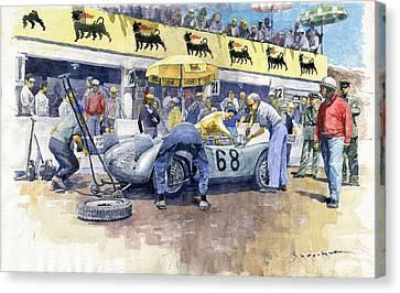 1958 Targa Florio Porsche 718 Rsk Behra Scarlatti 2 Place Canvas Print by Yuriy Shevchuk