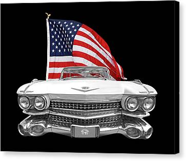 1959 Cadillac With Us Flag Canvas Print by Gill Billington