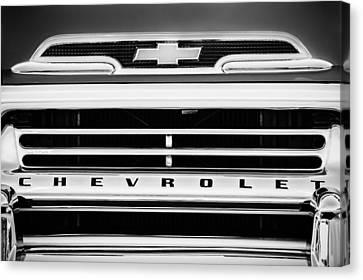 1959 Chevrolet Napco Fleetside Grille Emblem -1634bw Canvas Print by Jill Reger