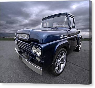 1959 Ford F100 Dark Blue Pickup Canvas Print by Gill Billington