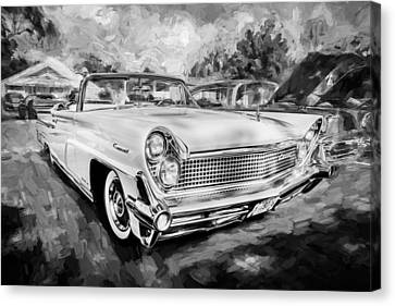 1959 Lincoln Continental Town Car Mk Iv Painted Bw Canvas Print by Rich Franco