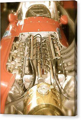 1959 Tecnia Meccanica Maserati 250f Engine Detail Canvas Print by John Colley