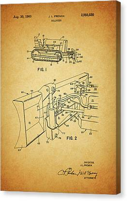 1960 Canvas Print - 1960 Bulldozer Patent by Dan Sproul
