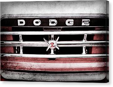 Canvas Print featuring the photograph 1960 Dodge Truck Grille Emblem -0275ac by Jill Reger