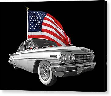 1960 Oldsmobile With Us Flag Canvas Print