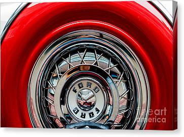 Canvas Print featuring the photograph 1958 Ford Crown Victoria Wheel by M G Whittingham