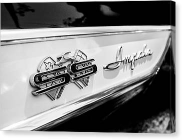 1961 Chevrolet Bel Air Impala Ss Bubble Top Side Emblem -0242bw Canvas Print by Jill Reger
