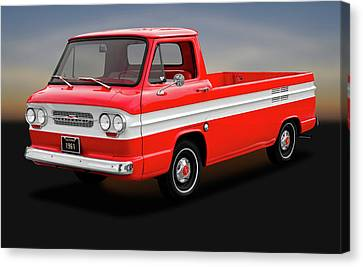 Canvas Print featuring the photograph 1961 Chevrolet Corvair 95 Rampside Truck  -  1961corvairrampside172180 by Frank J Benz
