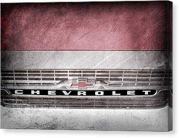 Canvas Print featuring the photograph 1961 Chevrolet Corvair Pickup Truck Grille Emblem -0130ac by Jill Reger