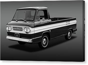 Canvas Print featuring the photograph 1961 Chevrolet Corvair Rampside  -  61corvairrampsidebw172180 by Frank J Benz