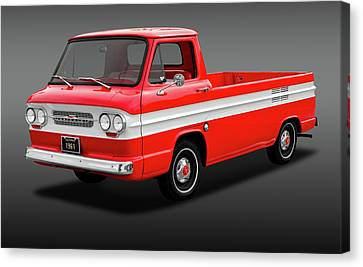 Canvas Print featuring the photograph 1961 Chevrolet Corvair Rampside Truck  -  1961chevcorvairrampsidefa172180 by Frank J Benz