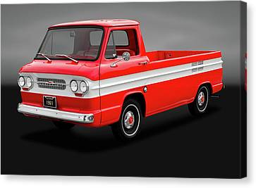 Canvas Print featuring the photograph 1961 Chevrolet Corvair Rampside Truck  -  1961chevycorvairgry172180 by Frank J Benz