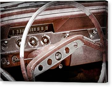 Canvas Print featuring the photograph 1961 Chevrolet Impala Ss Steering Wheel Emblem -1156ac by Jill Reger