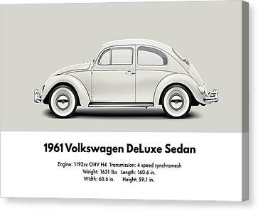 1961 Volkswagen Deluxe Sedan - Pearl White Canvas Print by Ed Jackson