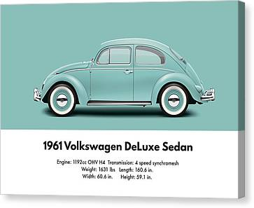 1961 Volkswagen Deluxe Sedan - Turquoise Canvas Print by Ed Jackson