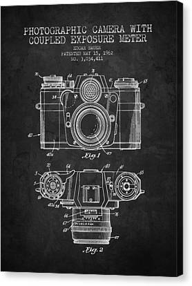 1962 Camera Patent - Charcoal - Nb Canvas Print by Aged Pixel