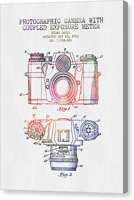 1962 Camera Patent - Color Canvas Print by Aged Pixel