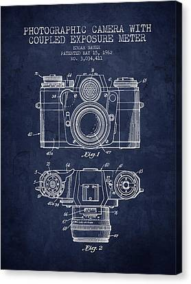 1962 Camera Patent - Navy Blue - Nb Canvas Print by Aged Pixel