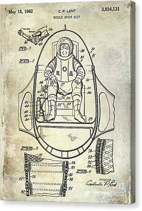 Outer Space Canvas Print - 1962 Space Suit Patent by Jon Neidert