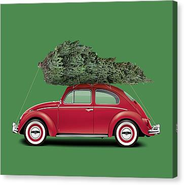 Profile Canvas Print - 1962 Volkswagen Deluxe Sedan - Ruby Red W/ Christmas Tree by Ed Jackson
