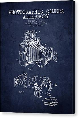 1963 Camera Patent - Navy Blue - Nb Canvas Print by Aged Pixel