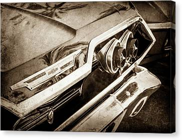 Canvas Print featuring the photograph 1963 Chevrolet Taillight Emblem -0183s by Jill Reger