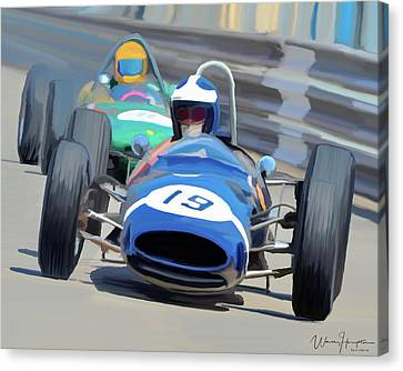 1963 Cooper T66 Coming Out Of Monaco's Mirabeau Canvas Print by Wally Hampton
