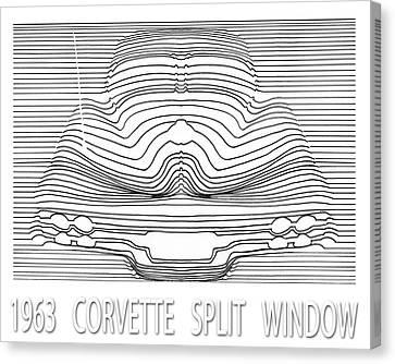 Wavy Line 63 Corvette Split Window Abstract Canvas Print by Jack Pumphrey