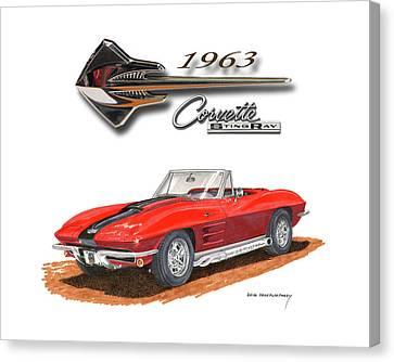 1963 Corvette Stingraw Roadster Canvas Print by Jack Pumphrey