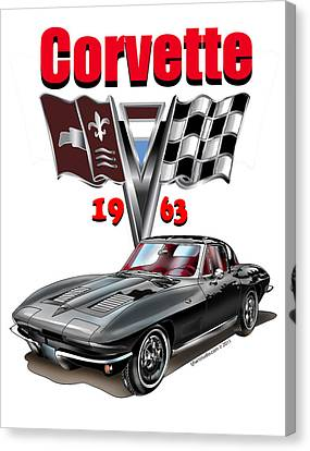 Canvas Print featuring the mixed media 1963 Corvette With Split Rear Window by Thomas J Herring
