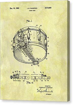 Marching Band Canvas Print - 1963 Drum Patent by Dan Sproul