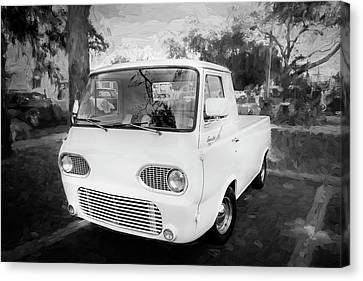 Pickup Truck Door Canvas Print - 1963 Ford Econoline Truck Bw  by Rich Franco