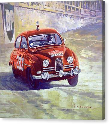 1963 Saab 96 #283  Rallye Monte Carlo  Carlsson Palm Winner Canvas Print by Yuriy Shevchuk