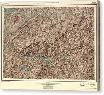 1963 Smoky Mountains Map Canvas Print by Dan Sproul