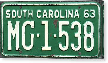 1963 South Carolina Green Vintage License Plate Canvas Print by Design Turnpike