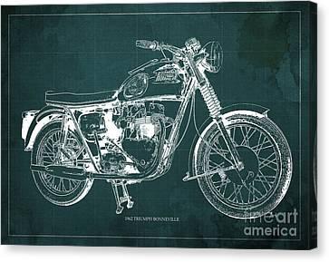 1963 Triumph Bonneville, Blueprint Green Background Canvas Print by Pablo Franchi